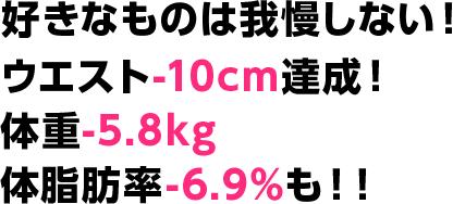 好きなものは我慢しない!ウエスト-10cm達成!体重-5.8kg 体脂肪率-6.9%も!!